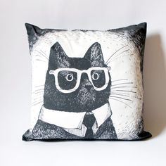Black Cat in Glasses cushion cover only square pillow por zyzanna, £30.00