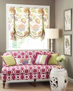 gray painted walls + floral balloon shades + pink geometric sofa +green accents