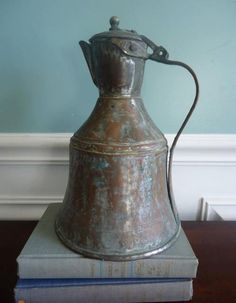 Antique 1800s Hand Forged Copper Coffee Pot
