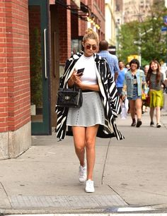 Pin for Later: 41 Times Gigi Hadid Proved Sneakers Were Way Hotter Than High Heels Wearing Adidas Superstars.