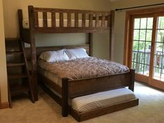 Where can I find someone who makes custom bunk beds? We make custom bunk beds of all sizes, including kings and queens. Bunk Beds For Boys Room, Adult Bunk Beds, Bunk Bed Rooms, Small Room Bedroom, Diy Bedroom Decor, Home Decor, Bedroom Colors, Queen Bunk Beds, Custom Bunk Beds