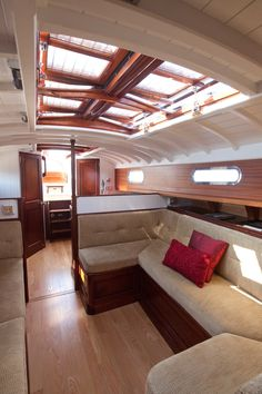 Good wood skylight action  Fairlie 55 Interior, from Classic Boat Magazine Article.