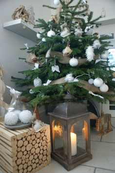 Mon joli sapin de Noel Blanc et naturel. #Noël #Christmas #Decoration