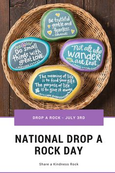 July is National Drop a Rock Day! Create your own kindness rocks to drop for others! Easy Crafts For Kids, Toddler Crafts, Diy And Crafts, Arts And Crafts, Preschool Colors, Educational Crafts, Rock Painting Designs, Kindness Rocks, Meaning Of Life