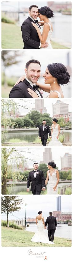 Classic and timeless outdoor wedding portraits of bride and groom in a park with city skyline in the background photographed by Massart Photography, a Rhode Island newborn, family and wedding photographer. | www.massartphotography.com; info@massartphotography.com