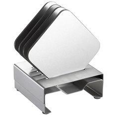 Visol Pascal Stainless Steel Square Coaster Set with Holder (Silver)