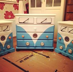 I want to do this orange and yellow to make it look like Titus. Volkswagen Van paint job for chest of drawers.