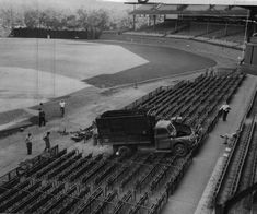 Forbes Field employees found a garbage truck in the box seats one morning. Tire tracks indicated a vandal driving it from left field then around the bases. Tire Tracks, Baseball Park, My Past Life, Take Me Out, Old Photos, Railroad Tracks, The Row, Fields, Old Things