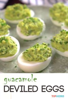 Guacamole Deviled Eggs | Add a little avocado, lime, Serrano pepper, cilantro and chives for a  zesty twist on the classic deviled egg. Click for the video and recipe.   #apps #eggs #appetizers #yum #easyapps #recipes #cooking #food