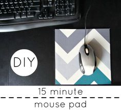 How adorable is this mouse pad tutorial? Love the chevron! #crafts #DIY #tech