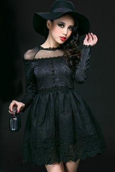 Eye-catching Mesh Yoke A-line Dress OASAP.com