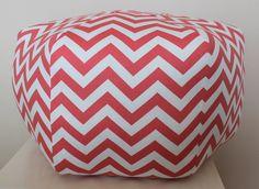 """24"""" Ottoman Pouf Floor Pillow Coral White Twill Zig Zag Chevron. $105.00, via Etsy."""
