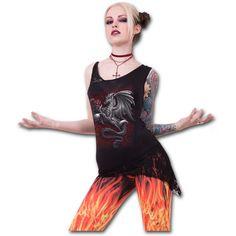 Dragon Rose Adjacent Shoulder Lace Top http://www.highvoltageclothing.com  #tribal #clothing #tattoo #musthave #sale #loveit #goth #steampunk #fashion #biker