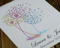 Imprimir árbol de boda dibujado de huella digital de por LiWedding