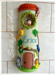 Biscuit Sutileza da Arte: Telhas decoradas com biscuit