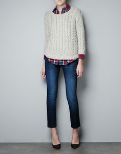 CABLE KNIT SWEATER WITH ZIP ON BACK - Woman - New this week - ZARA