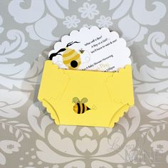 Bee Diaper Invitations  Gender Reveal Gender by LovinglyMine, $15.00... I still have the diaper template from kims shower!