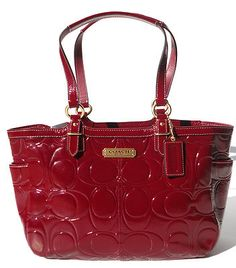 New coach chelsea wine red patent leather ew tote bag purse  ...