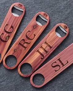 Monogrammed Cedar Wood Bottle Openers. A great gift under $20 for Christmas 2016!