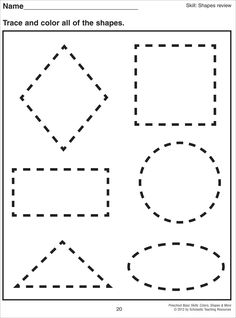 Basic Shapes Worksheets for Preschool. When your kid is ready to explore her shapes adventure, then this printable collection of basic shapes worksheets will be the best ideas! These worksheets are suitable for preschool and kindergarten 3d Shapes Worksheets, Shape Tracing Worksheets, Shape Worksheets For Preschool, Shapes Worksheet Kindergarten, Pre K Worksheets, Tracing Shapes, Free Printable Worksheets, Free Preschool, Preschool Shapes