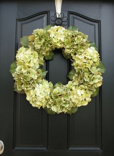 Wreaths - Hydrangea Wreaths -  Wreaths for All Seasons - Wedding Decorations. $105.00, via Etsy.