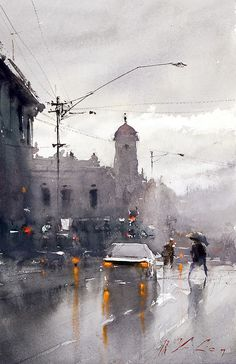 Watercolor painting by Joseph Zbukvic. Joseph Zbukvic is one of the finest master watercolor painters in the world; his watercolor painting instruction workshops sell out wherever he travels. Art Watercolor, Watercolor Landscape, Landscape Art, Joseph Zbukvic, Painting & Drawing, Painting Abstract, Abstract City, City Painting, Abstract Portrait