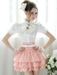 romantic style   Romantic Style Pure Color Multilevel Edge Mini Pantskirt
