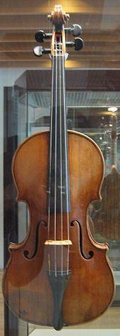 The Antonio Stradivari violin of 1703 on exhibit, behind glass, at the Musikinstrumentenmuseum, Berlin.