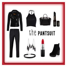 """""""The Pantsuit"""" by mayday004 ❤ liked on Polyvore featuring Ted Baker, Superdry, New Look, NYX, MAC Cosmetics, Charlotte Russe, Givenchy and amazons"""