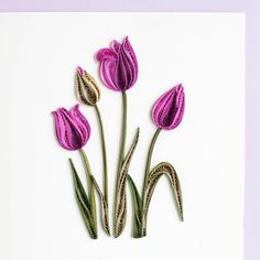 Purple Tulip BL919 6 x 6 by QuillingCard on Etsy