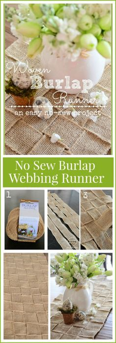 NO SEW BURLAP WEBBING RUNNER-easy to make and looks fabulous