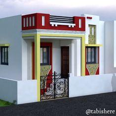No photo description available. Simple House Exterior Design, House Outer Design, House Front Wall Design, Single Floor House Design, House Roof Design, Village House Design, Kerala House Design, Bungalow House Design, House Design Photos