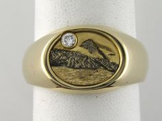 Yellow Gold Mountain Ring with Diamond accent by Chuck King
