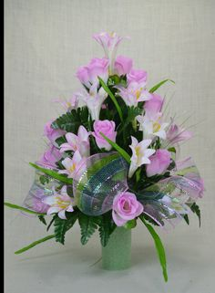 No.C07 Spring Cemetery Arrangement. , Spring Cone Flower, Cone Arrangement,Grave, Tombstone arrangement, Cemetery flowers by AFlowerAndMore on Etsy