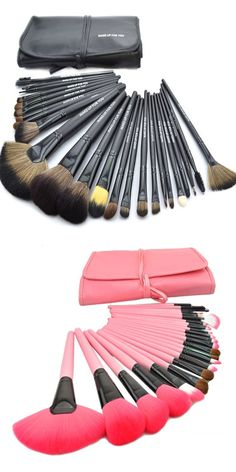 2017 Hot Professional 24pcs Makeup Brushes Makeup For You Brush Set Pink Makeup Brushes Including a Deluxe Carrying Case!