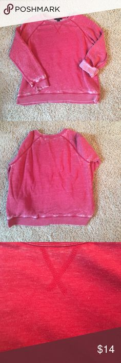 Forever 21 Distressed Crew Neck Red distressed sweatshirt/sweater. In great condition!! Looks cute with sleeves down or rolled. Would fit a medium as well Forever 21 Tops Sweatshirts & Hoodies