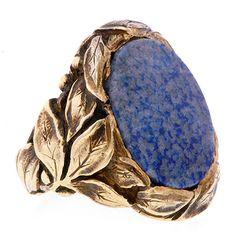 Arts and crafts gold and sodalite ring attributed to Gustav Manz. Circa 1900. #gustavmanz