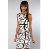 Motel The Audrey Dress in Tiger Life Black and White