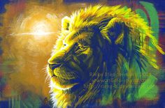 Lion original acrylic painting animal portrait by StudioSterna