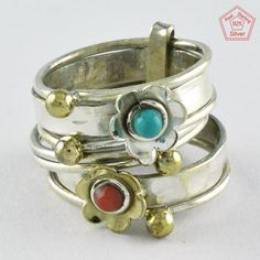 SZ. 8 US CORAL & TURQUOISE PRETTY 925 HANDMADE STERLING SILVER STACKABLE RING #SilvexImagesIndiaPvtLtd #Stackable #AllOcassions