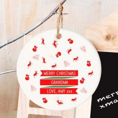 Personalised Ceramic Christmas Traditional Bauble Decoration