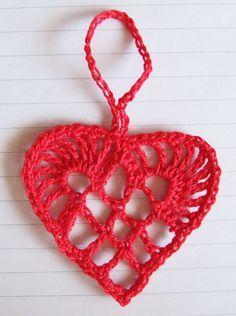 Scandinavian Crochet Heart Ornament  by Teresa Kasner