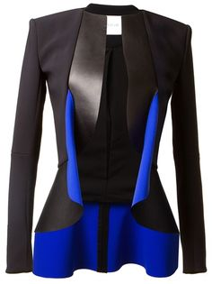Dion Lee Bi-Material Jacket - black and blue leather