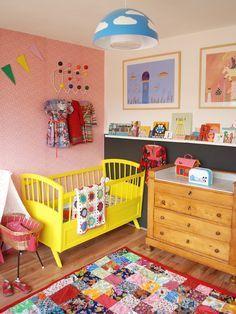Das Kinderbett als Blickfang >> Kids room - Yellow painted bed - ninainvorm Nursery Room, Girl Nursery, Girl Room, Kids Bedroom, Baby Room, Childrens Bedroom, Kids Rooms, Yellow Rugs, Retro Baby