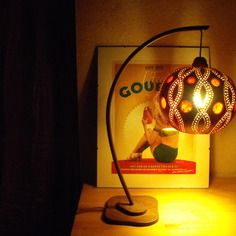 "Lampe de bureau ""dentelle"" courge/calebasse"