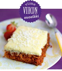 Tiinan mehevä porkkanakakku // Tiina´s Best Carrot Cake ever Food & Style… Delicious Desserts, Dessert Recipes, Yummy Food, Finland Food, Finnish Recipes, Cake Bars, Something Sweet, I Love Food, Sweet Recipes