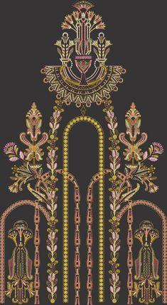 Border Embroidery Designs, Embroidery Motifs, Motif Design, Textile Design, Neck Design, Spider Art, Baroque Decor, Paisley Art, Vintage Borders