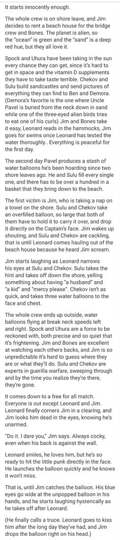 What did I just read.   Good job sulu and Chekov, those are my boys!