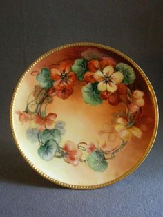 Haviland & Co., Limoges Hand Painted Cabinet Plate w/Nasturtium from brysantiques on Ruby Lane