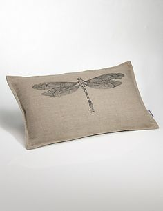 Conran Dragonfly Linen Cushion Home Beautiful Interiors, Soft Furnishings, Cushions, Textiles, Throw Pillows, Stylish, Stuff To Buy, Guest Room, Design